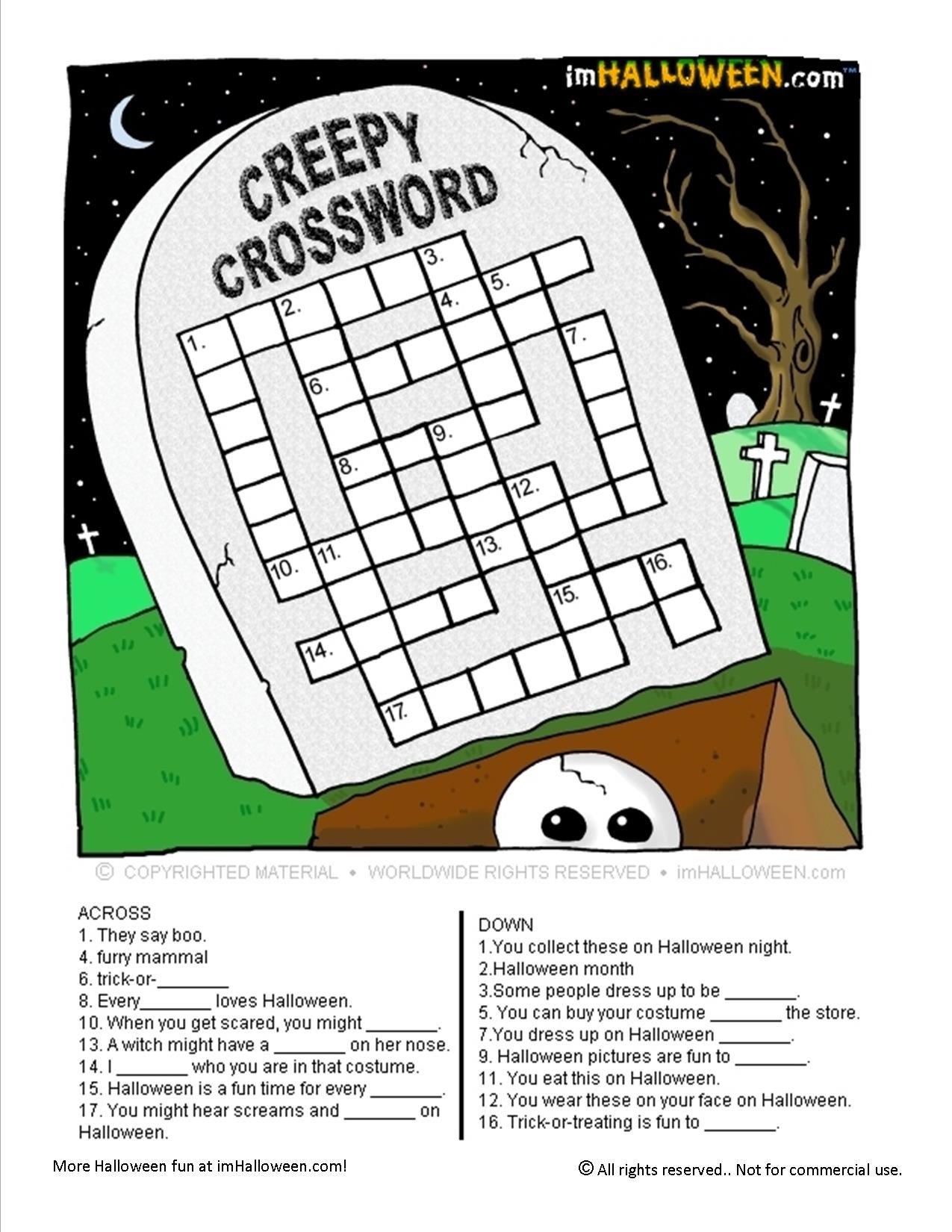 Creepy Halloween Crossword Puzzle