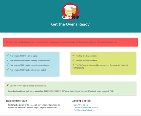 CakePHP default home page