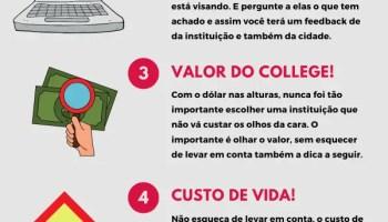 Infográfico de como se escolher um college ou universidade no Canadá