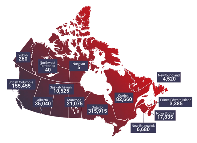 Gráfico (por província) de alunos internacionais no Canadá