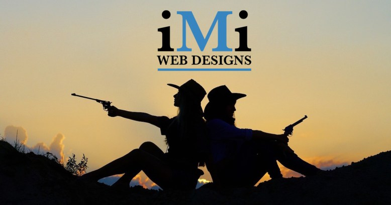 cowgirls back to back with guns in sunset imi web designs