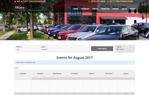 screenshot of westonautogallery.com events calendar