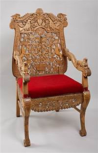 <div style='direction:ltr'></p><br /><br /><p><strong>The Chair of Rabbi Nahman of Bratslav</strong><br /><br /><br />It is said that in 1808 Rabbi Nahman of Bratslav received a wooden chair with carved decoration featuring griffons, doves, lions, grapes, a vase, and vegetal motifs. Speaking of a dream he had shortly after receiving the gift, R. Nahman described a chair encircled by fire with the living creatures of the world in pairs under the chair, which he related to matchmaking. <br /></p><br /><br /><p>According to Bratslav tradition, the chair Rabbi Nahman received was brought to Jerusalem; this chair is now preserved in the Great Bratslav Yeshivah in Mea Shearim (and of late copies have been made by other Bratslav communities). Today the original no longer serves as a talisman for matchmaking; instead, it is lent out to members of the community to serve as Elijah's Chair in circumcision ceremonies.<br /><br /><br />אחרות<br /></p><br /><br /><p></p></p><br /><br /><p></div>