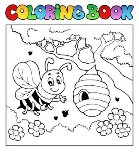 Bienchen-Bild zum Aus-Malen, Biene zum Ausmalen