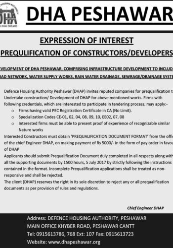 DHA Peshawar development work