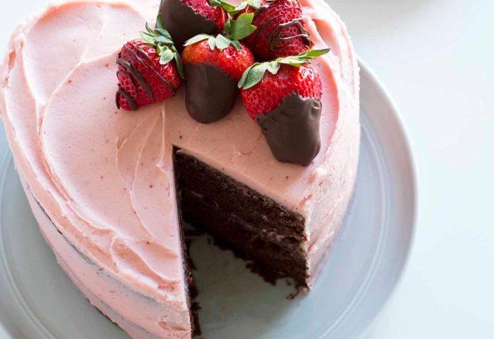 Heart Shaped Chocolate Strawberry Cake Immaculate Baking Company