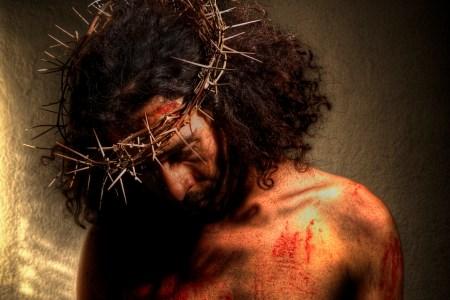 Jesus wearing crown of thorns - suffering servant