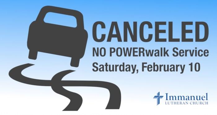 no power walk service on saturday february 10 at immanuel lutheran church joplin missouri