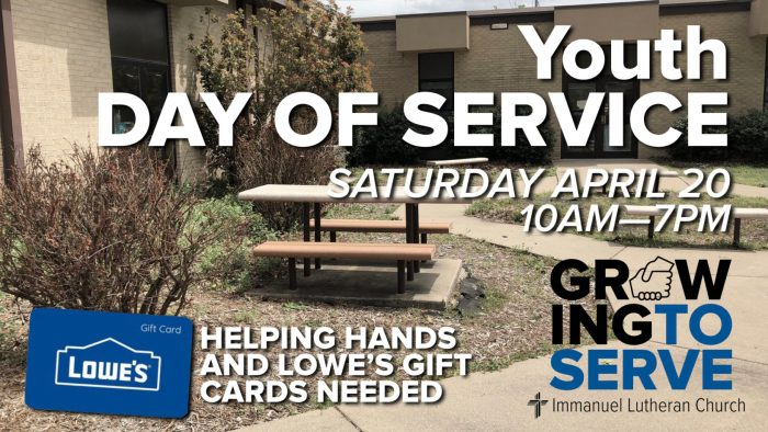 youth day of service. immanuel lutheran church lcms. joplin missouri. youth ministry.