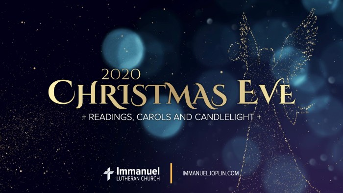Christmas Eve Candlelight Service. Reading, Carols and Candlelight. Immanuel Lutheran Church LCMS. Joplin Missouri.