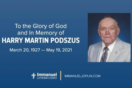 Harry Podszus Funeral. Immanuel Lutheran Church LCMS. Joplin Missouri.
