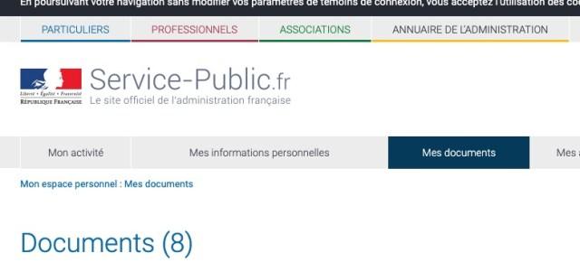 """Capture d'écran du site Service-Public.fr montrant la catégorie """"Mes documents"""""""
