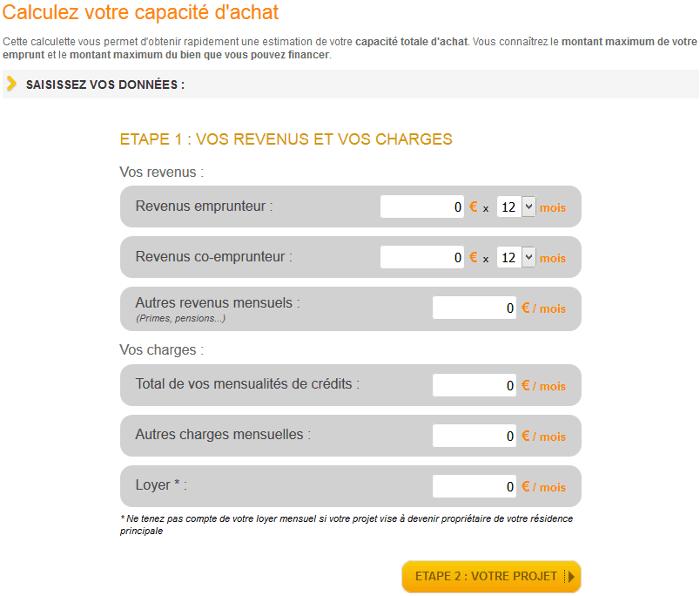 Simulation du calcul de capacité d'emprunt sur Immobilier-danger.com