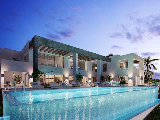 Villas au style architectural contemporain avec une piscine à débordement