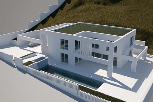 piscine à débordement surplombant la mer Méditerranée0