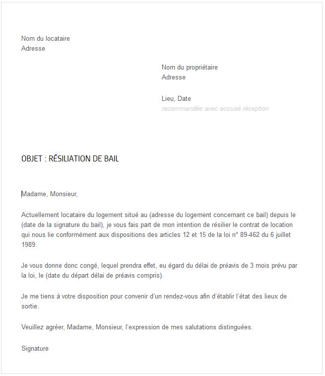 Lettre Type Gratuite Pour Rsiliation De Bail IMMO LYON