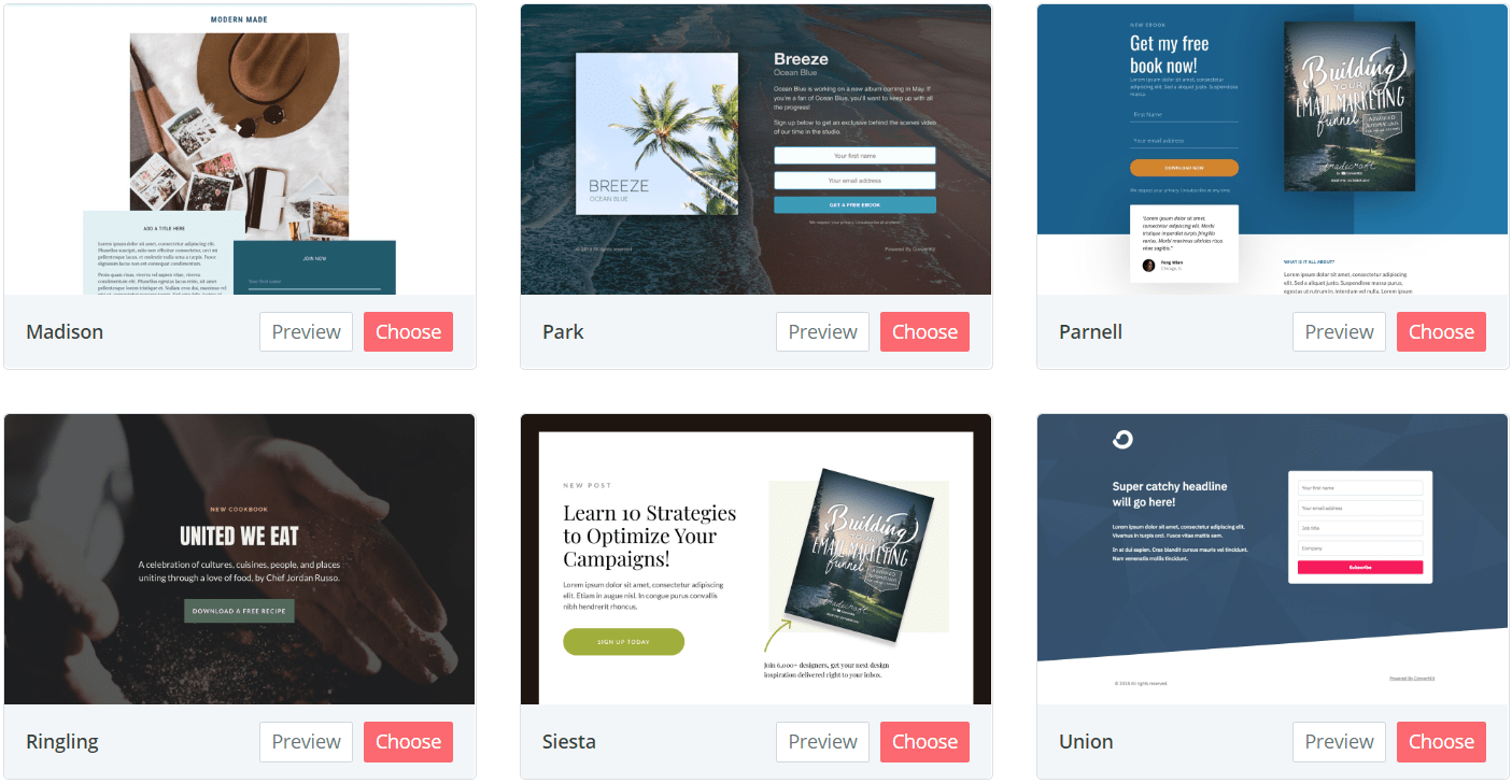 templates for your landing pages