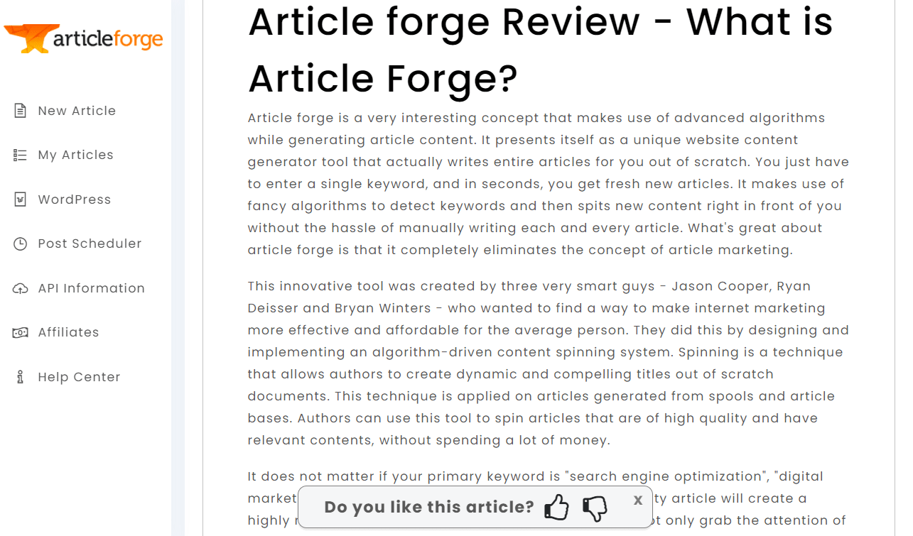 article forge content writer