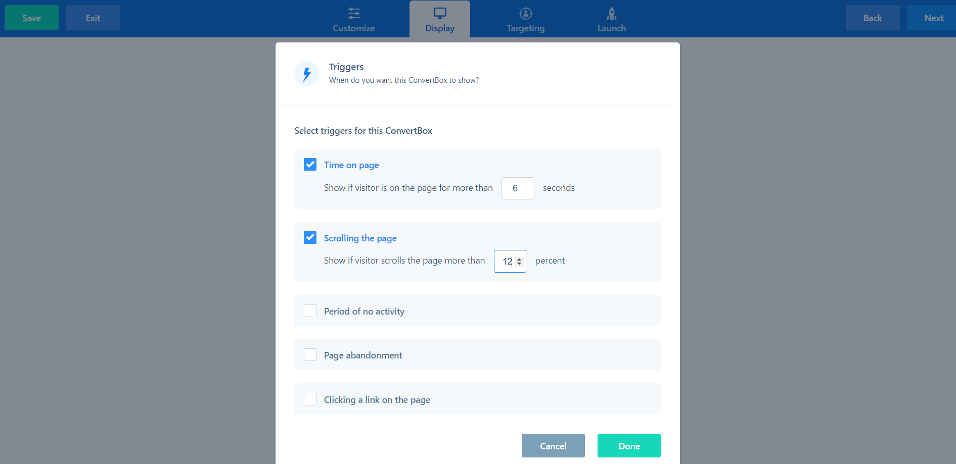 convertbox scroll percentage guide