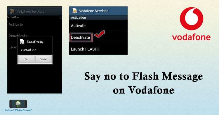 Disable pop up flash message of Vodafone in android - INTERNET
