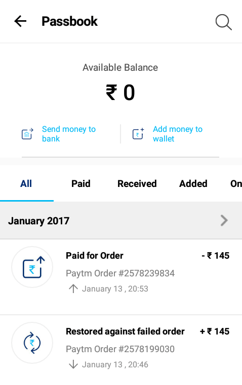 Money Transfer Feature to Bank - Paytm