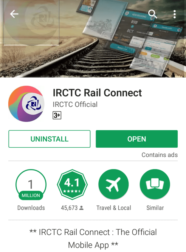 IRCTC Connect App – Online General Ticket Booking