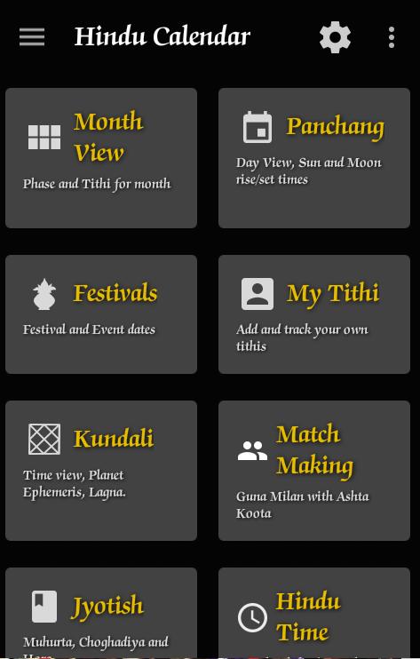 Hindu Calendar App – Panchang – Tithi – Kundali – Match Making – Jyotish