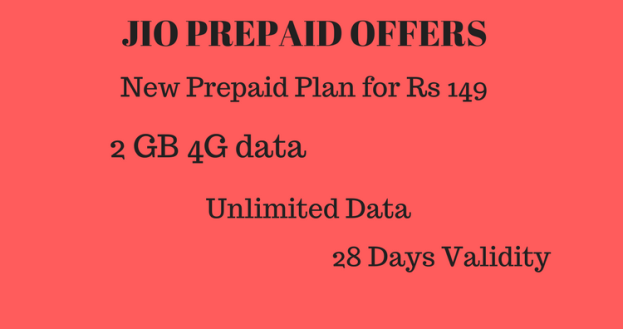 Jio Rs 149 plan – 4G data – 2GB 4G data