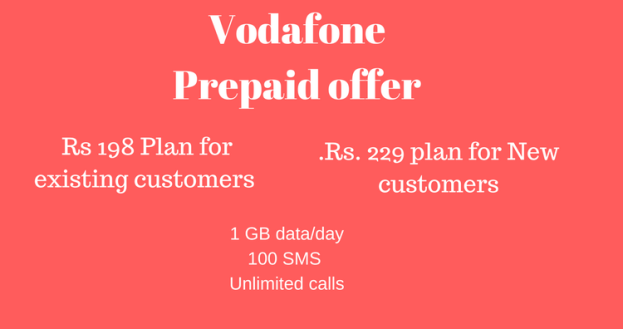 Vodafone Rs 198 prepaid Recharge plan – 1 GB data – unlimited calls – free SMS
