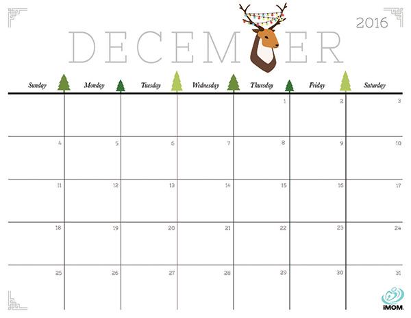 Image result for December 2016 Blank Calendar