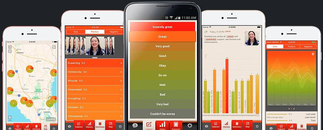 5 iPhones iMoodJournal screens