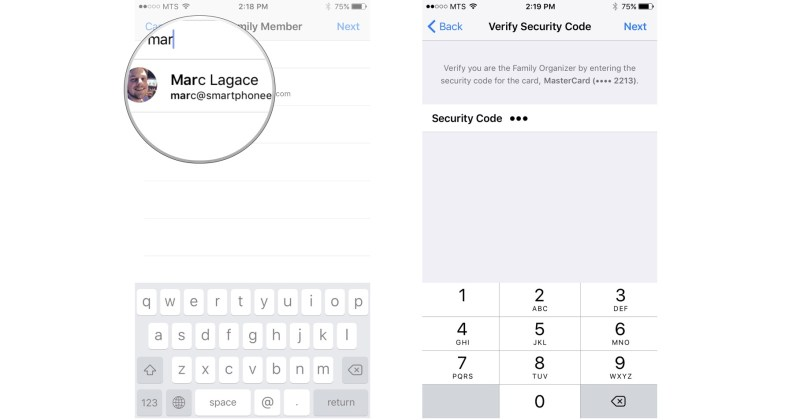 Add family member: Start typing someone's name, tap it, enter the security code for the credit card on file.