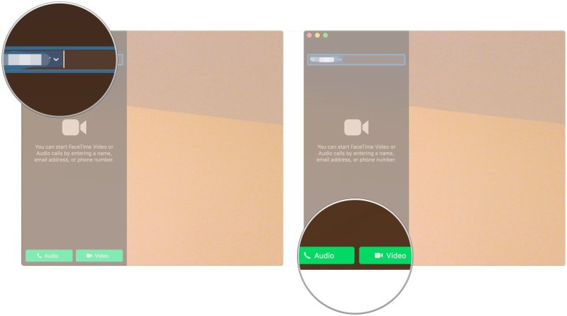 Make FaceTIme calls from your Mac, showing how to enter additional names, email addresses, or phone numbers as desired, then click Audio or Video