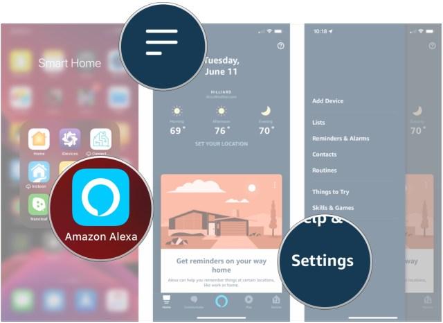 Open Alexa, tap menu, tap Settings