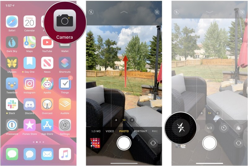 Open camera, swipe up on viewfinder, tap flash button