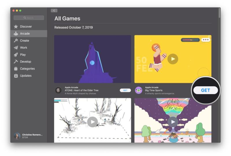 How to select and start playing a game on Apple Arcade on Mac by showing steps: Browse and click Get on a game you want