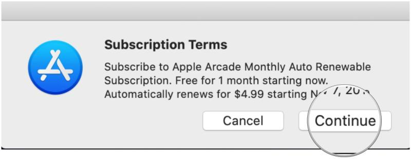 Sign up for Apple Arcade on Mac by showing steps: Confirm by clicking Continue