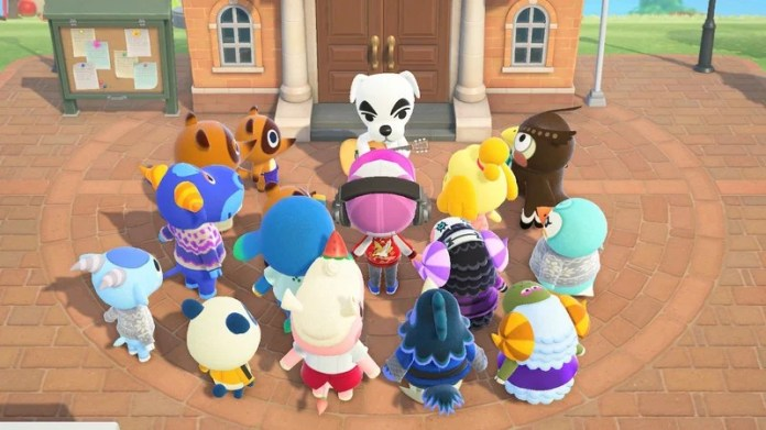 Animal Crossing New Horizons villagers circling around KK Slider at Resident Services plaza