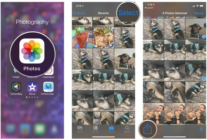 Transfer photos via AirDrop on iPhone and iPad by showing steps: Launch Photos, find the photos you want to AirDrop and select them or view them individually, tap the Share button