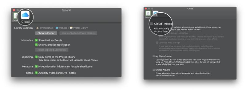Turn on iCloud Photos in Photos app on Mac by showing steps: In Preferences, click iCloud, then click the checkbox for iCloud Photos