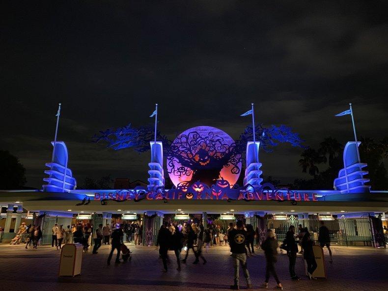 Disney California Adventure entrance Night mode