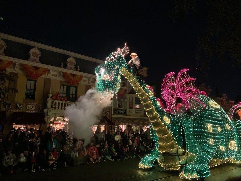 Elliott the Dragon in Main Street Electrical Parade