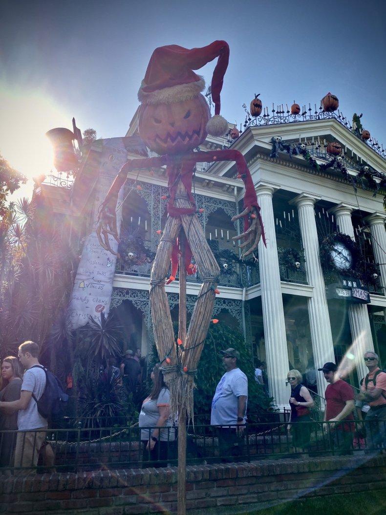 Pumpkin scarecrow at Haunted Mansion Holiday in Disneyland