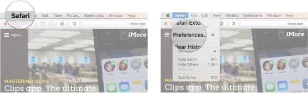 Click Safari, click Preferences