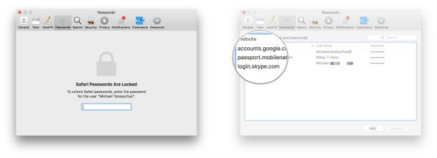Enter your Mac passowrd, click the account whose password you want to view