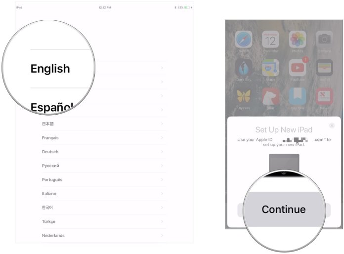 The new iPhone setup steps showing Choose language and Tap Continue