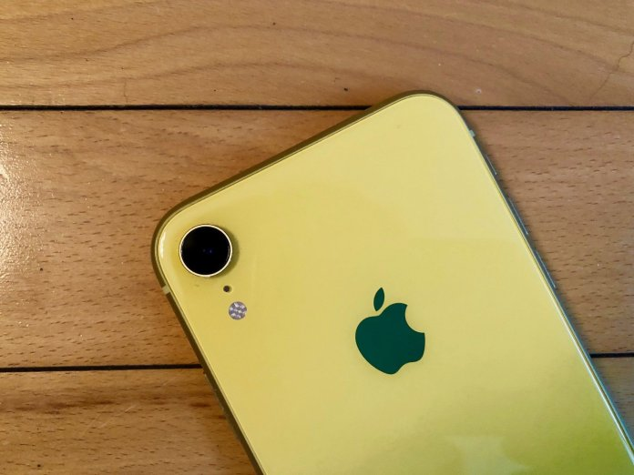 iPhone XR in yellow