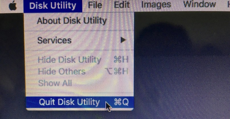Quitting Disk Utility