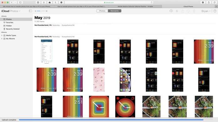 iCloud online upload complete