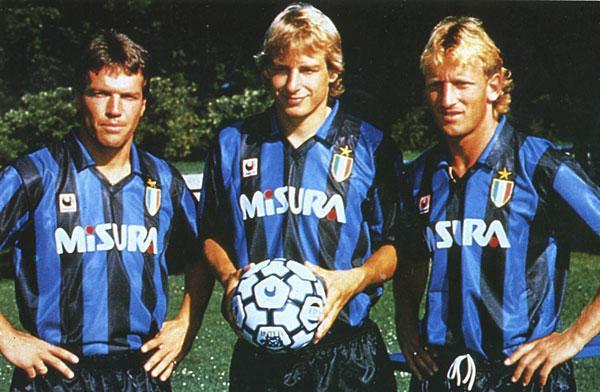 Matthäus - Klinsmann - Brehme: santos alemães em Milão.